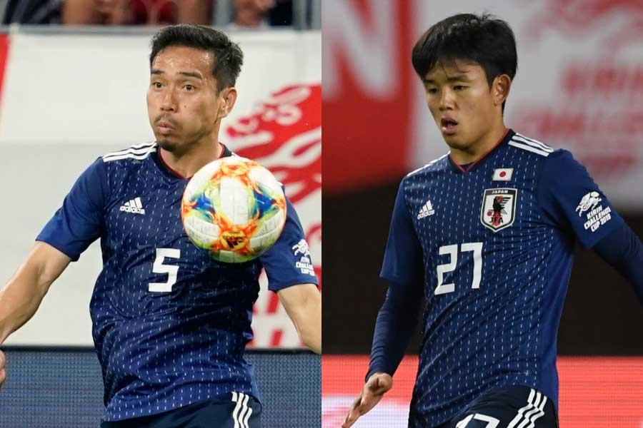(左から)日本代表DF長友、MF久保【写真:Getty Images&浦正弘】