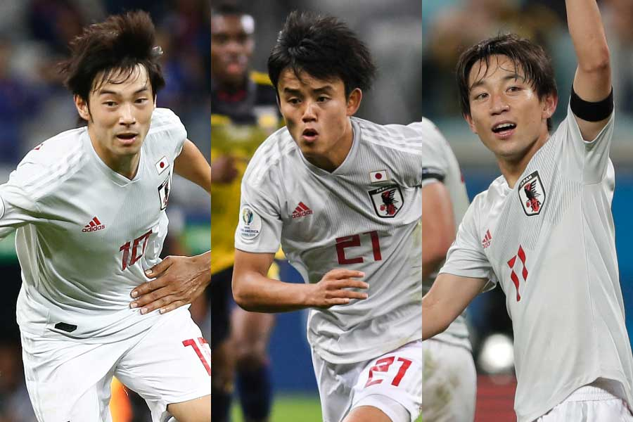 (左から)MF中島、MF久保、MF三好【写真:Copa America&Getty Images&AP】