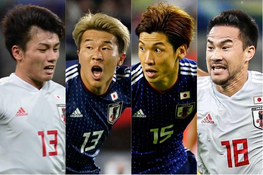 (左から)FW上田、FW永井、FW大迫、FW岡崎【写真:Yukihito Taguchi&Getty Images&Copa America】