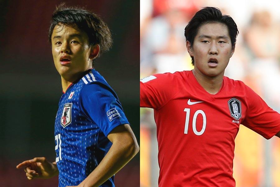 (左から)日本代表MF久保、韓国代表MFイ・ガンイン【写真:Getty Images&AP】