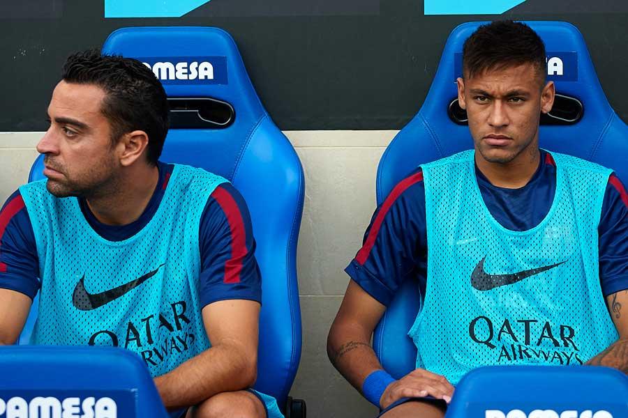 (左から)バルセロナ時代のMFシャビ氏、FWネイマール【写真:Getty Images】