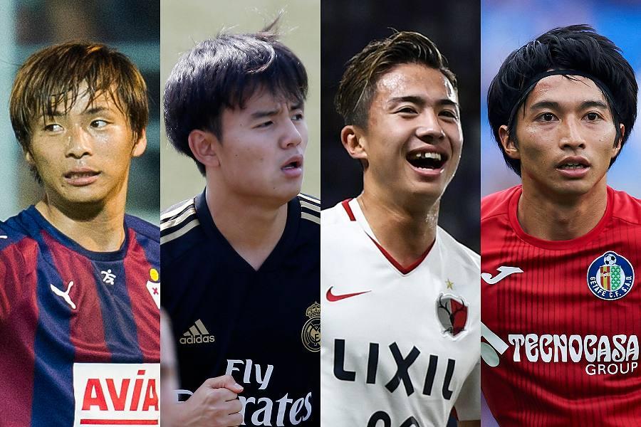 リーガに所属する日本人選手の左からMF乾、MF久保、MF安部、MF柴崎【写真:Getty Images】