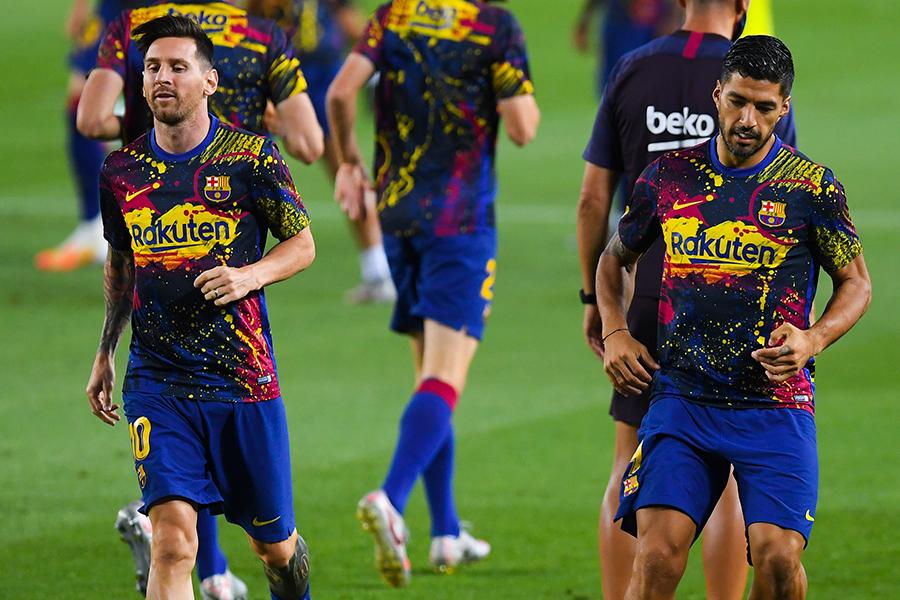 バルセロナのFWリオネル・メッシとFWルイス・スアレス【写真:Getty Images】