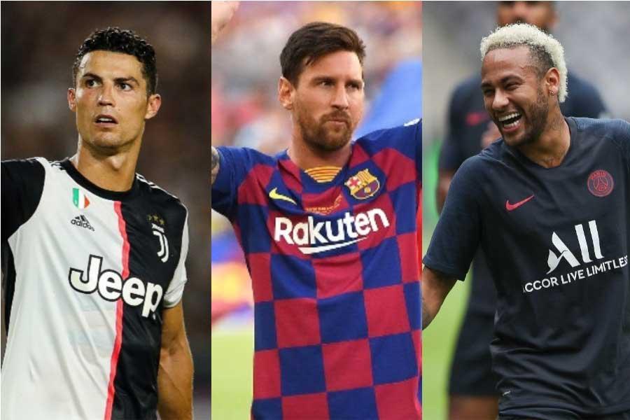 「2019年の高額年俸サッカー選手」のTOP3入りを果たした (左から) ロナウド、メッシ、ネイマール【写真:Getty Images】