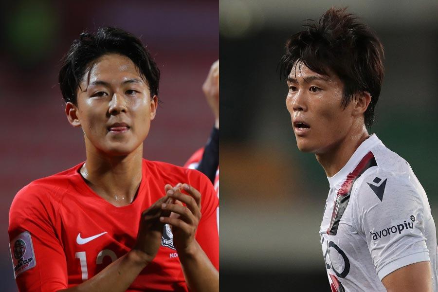 (左から)FWイ・スンウ、DF冨安健洋【写真:Getty Images】