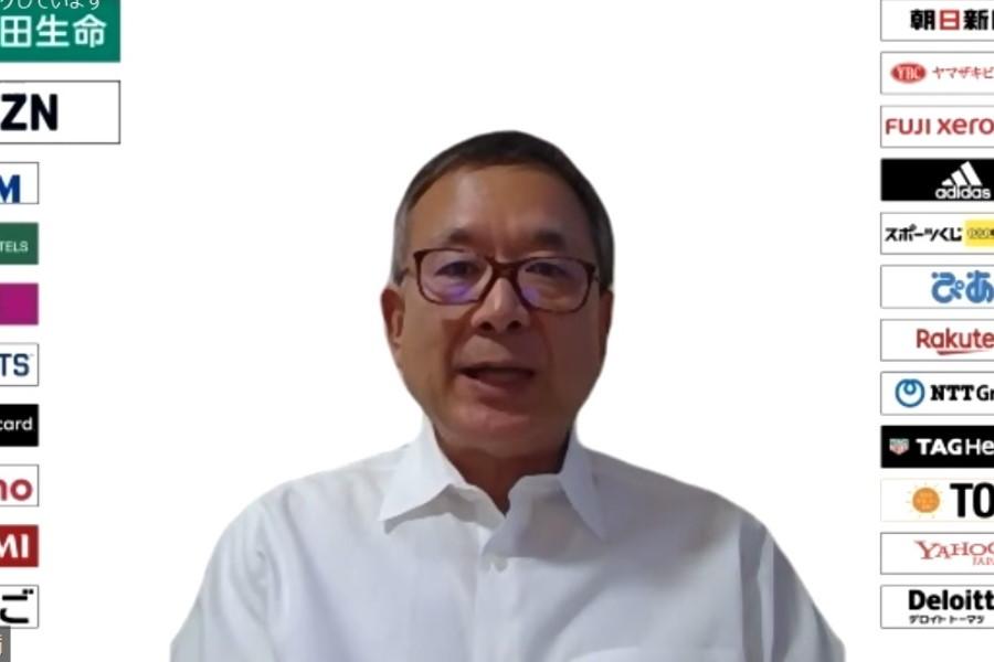 ウェブ会見に応じたJリーグの村井チェアマン【※画像はスクリーンショットです】