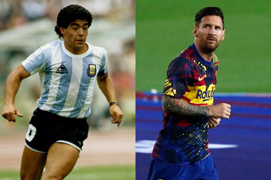 元アルゼンチン代表FWディエゴ・マラドーナ(左)とバルセロナFWリオネル・メッシ【写真:Getty Images&AP】