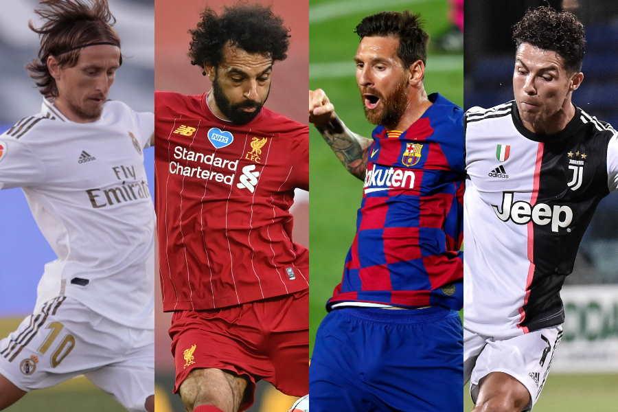 各クラブの代表選手(左から)モドリッチ、サラー、メッシ、C・ロナウド【写真:AP】