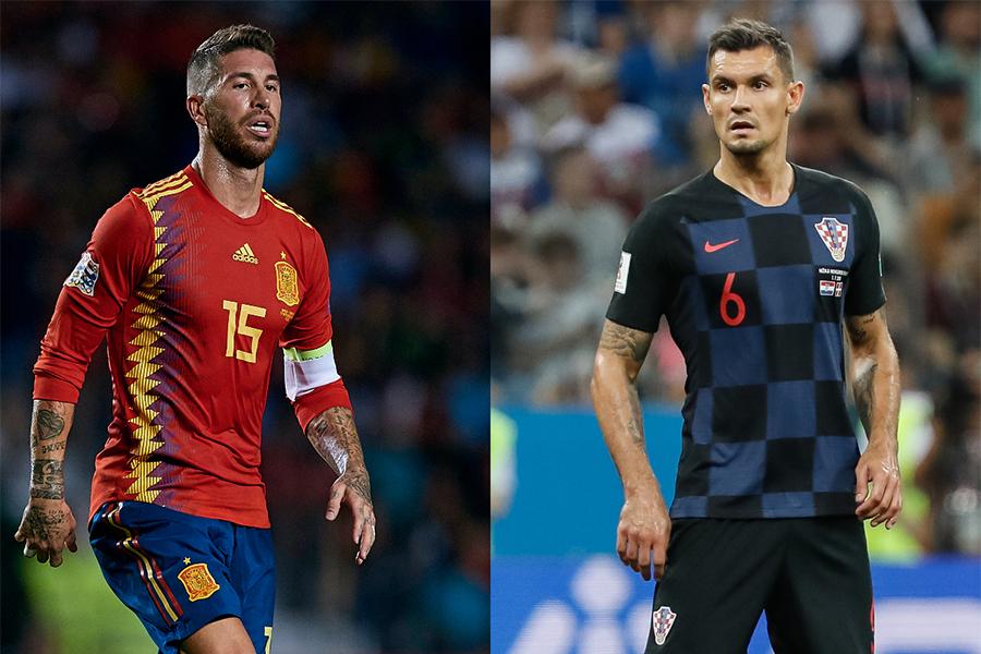 スペイン代表DFセルヒオ・ラモスとクロアチア代表DFデヤン・ロブレン【写真:Getty Images】
