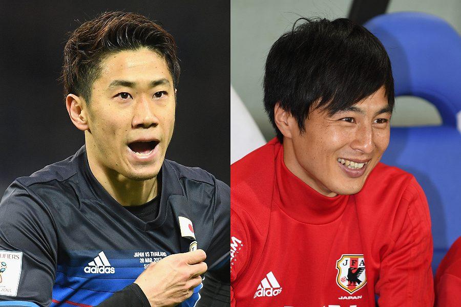 再会を果たしたサラゴサMF香川(左)と元日本代表MF加藤【写真:Getty Images】