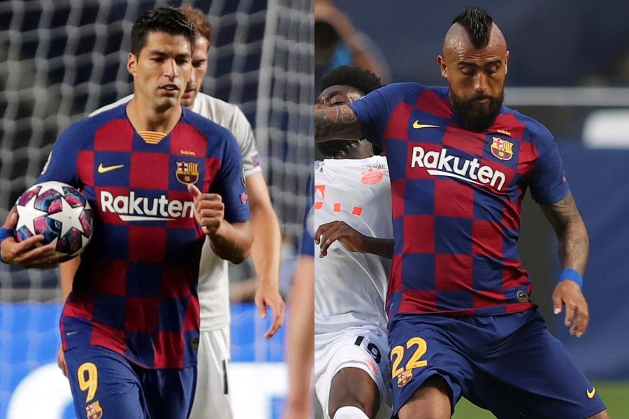 移籍が噂されているバルセロナFWルイス・スアレスとMFアルトゥーロ・ビダル【写真:AP】