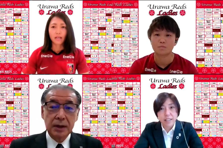 (左上から時計回りに)FW安藤梢、DF南萌華、柳田美幸氏、立花洋一代表【※画像はスクリーンショットの組み合わせです】