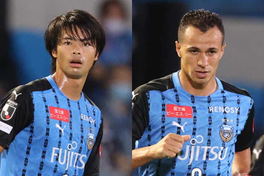 川崎のMF三笘薫(左)とFWレアンドロ・ダミアン【写真:高橋学】