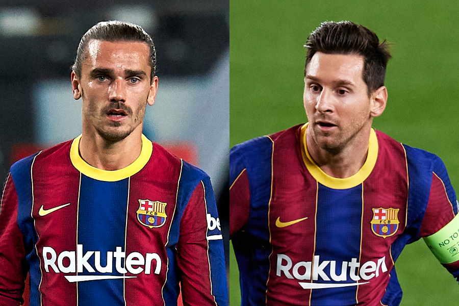 バルセロナのFWグリーズマン(左)とメッシ【写真:Getty Images】