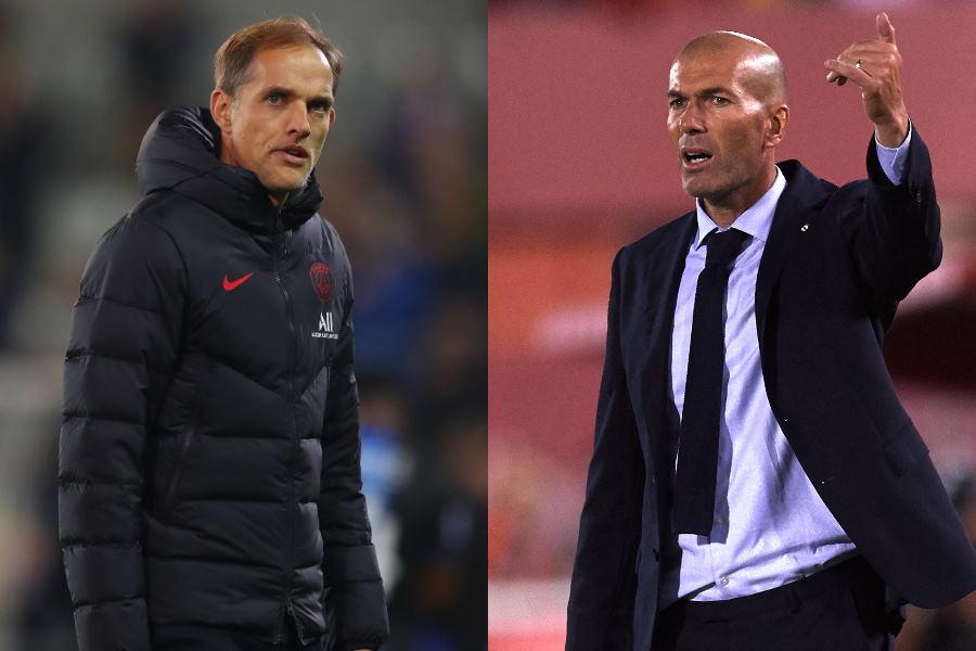 PSGのトゥヘル監督(左)はがレアルのジダン監督のムバッペ熱に言及【写真:Getty Images】