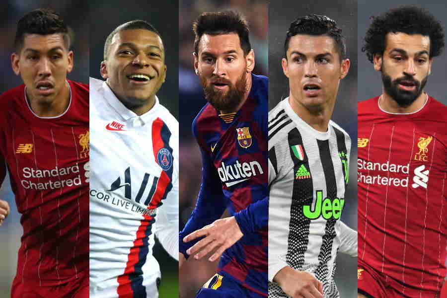 左からフィルミーノ、ムバッペ、メッシ、ロナウド、サラー【写真:Getty Images】
