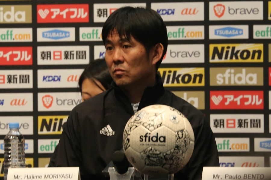 会見に臨んだ日本代表の森保監督【写真:Football ZONE web】