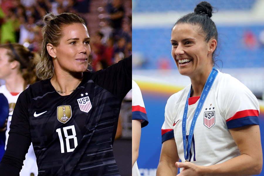 アメリカ女子代表のアシュリン・ハリス(左)とアリ・クリーガー【写真:Getty Images】