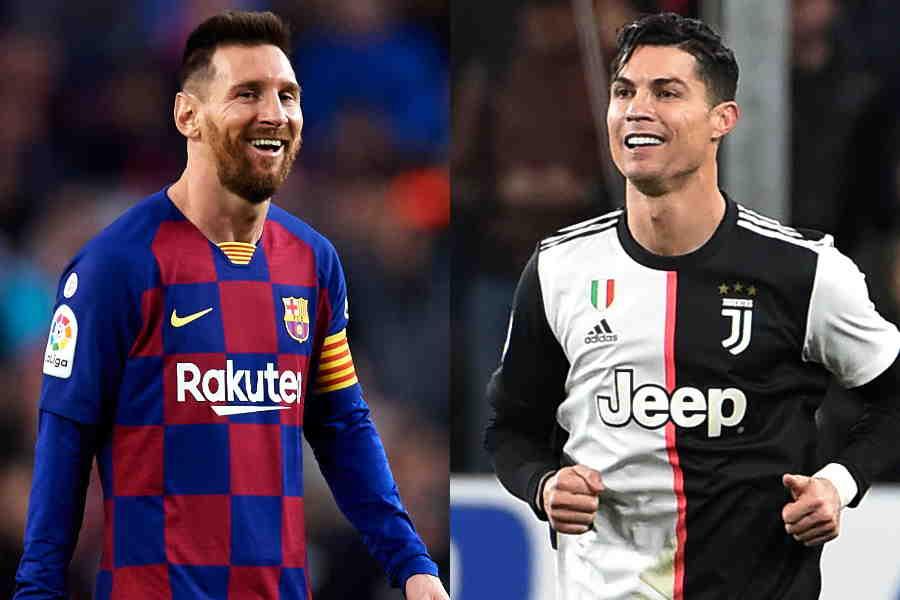 サッカー界でランクインしたバルセロナFWメッシ(左)とユベントスFWのC・ロナウド【写真:Getty Images】