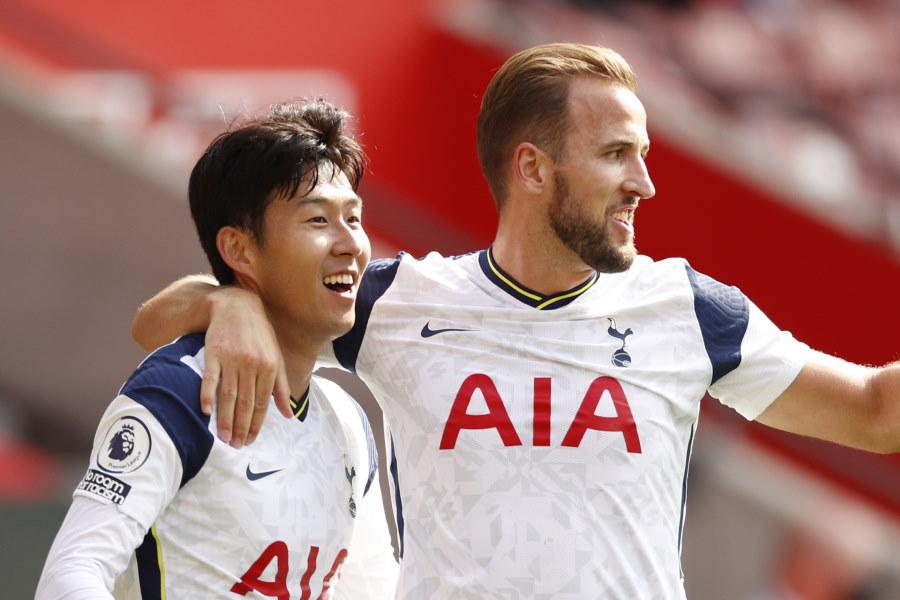 ゴール量産中のトッテナムイングランド代表FWハリー・ケインと韓国代表FWソン・フンミン【写真:AP】