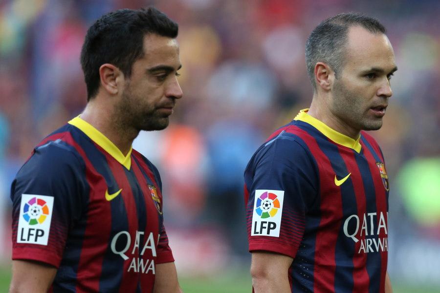 バルセロナの中盤で長くコンビを組んでいたイニエスタとシャビ【写真:Getty Images】