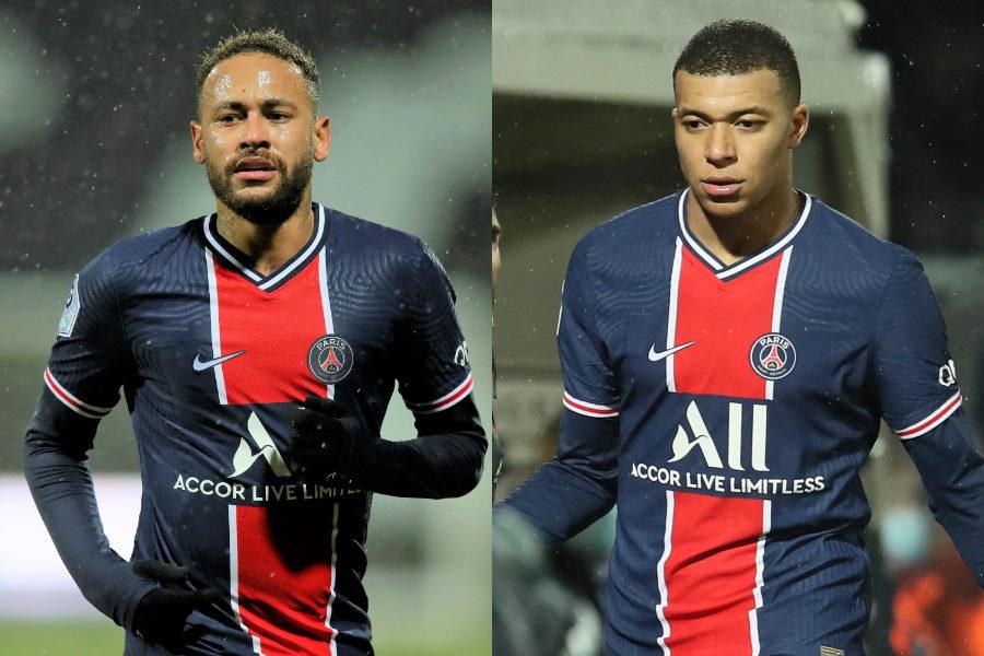 PSGからの移籍も噂されるネイマールとムバッペ【写真:AP】
