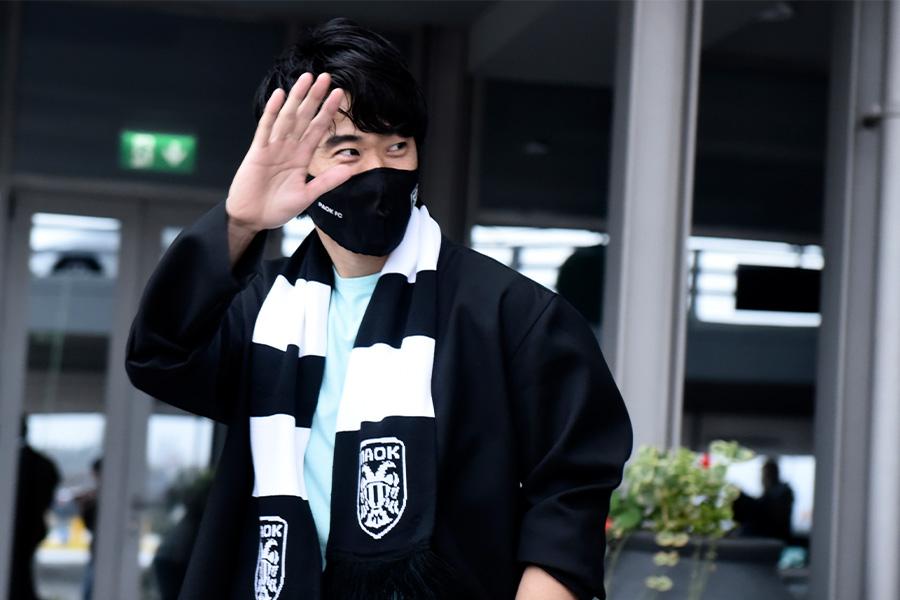 ギリシャ1部リーグデビューを果たした香川真司【写真:AP】