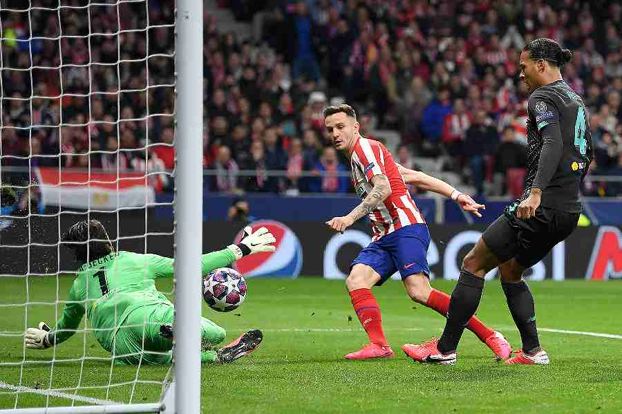 サウールのゴールでアトレティコがリバプールに先勝した【写真:Getty Images】