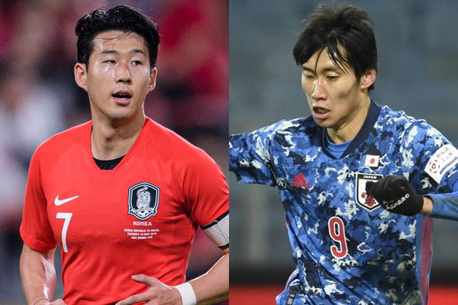 韓国代表FWソン・フンミンと日本代表MF鎌田大地【写真:Getty Images & AP】