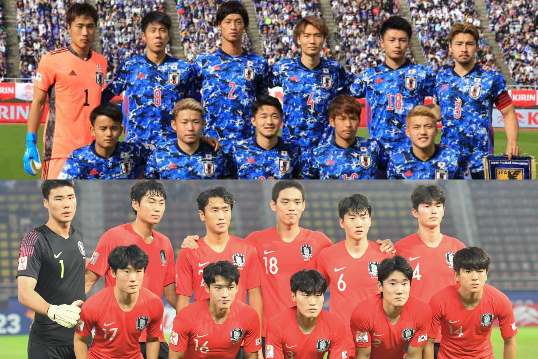 日本代表はグループAに、韓国代表はグループBで戦う【写真:Noriko NAGANO & Getty Images】