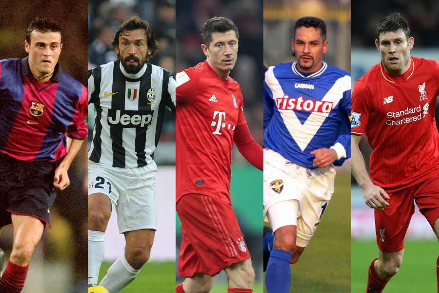 (左から)L・エンリケ、ピルロ、レバンドフスキ、R・バッジョ、ミルナー【写真:Getty Images】