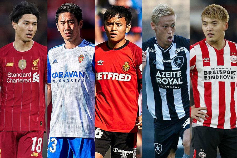 近年では多くの日本人選手が海外クラブでプレーをしている【写真:Getty Images & AP】