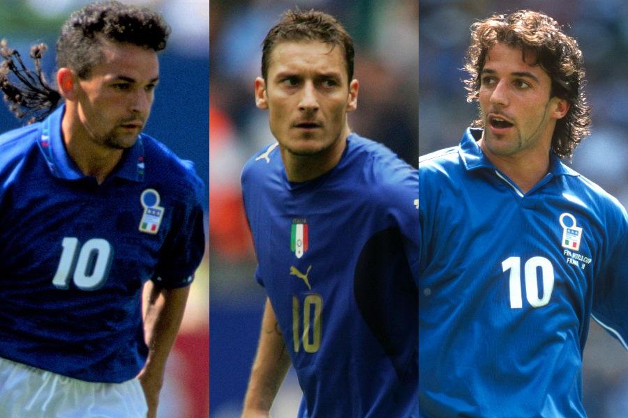 イタリア代表時代のバッジョ、トッティ、デル・ピエロ【写真:Getty Images】