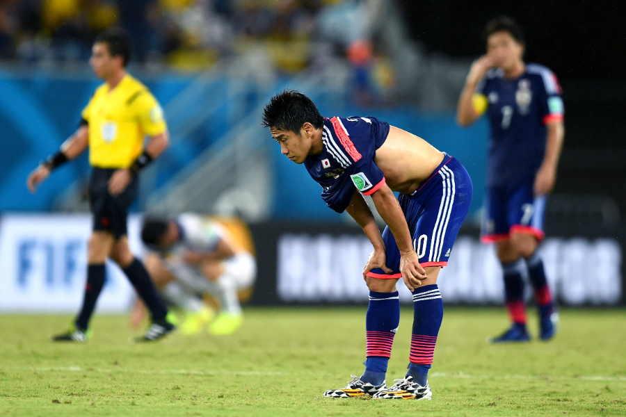 """14年W杯では香川がダブル""""10番""""の一角を担うも…チームはGL敗退【写真:Getty Images】"""