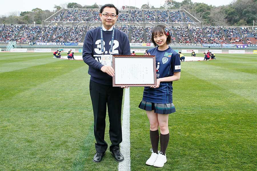 豊永さんは2018年に続き、今年もアビスパ福岡の公式アンバサダーに任命された【©avispa fukuoka】