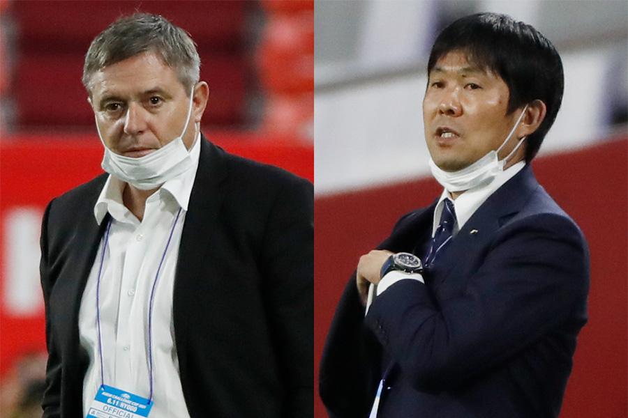 セルビア代表のストイコビッチ監督と日本代表の森保一監督【写真:ロイター】