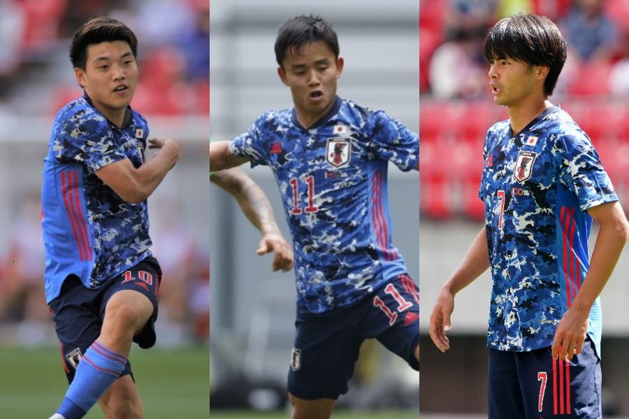 U-24日本代表の堂安、久保、三笘【写真:Getty Images & Yukihito Taguchi】