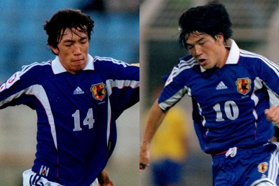 2000年アジアカップ当時の中村俊輔(左)と名波浩【写真:Getty Images】