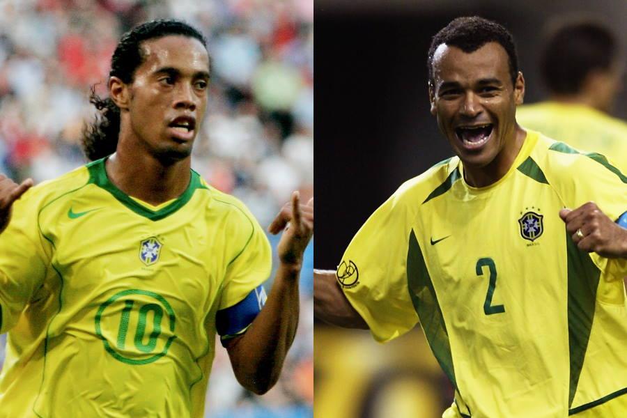 元ブラジル代表FWロナウジーニョ(左)とDFカフー【写真:Getty Images】
