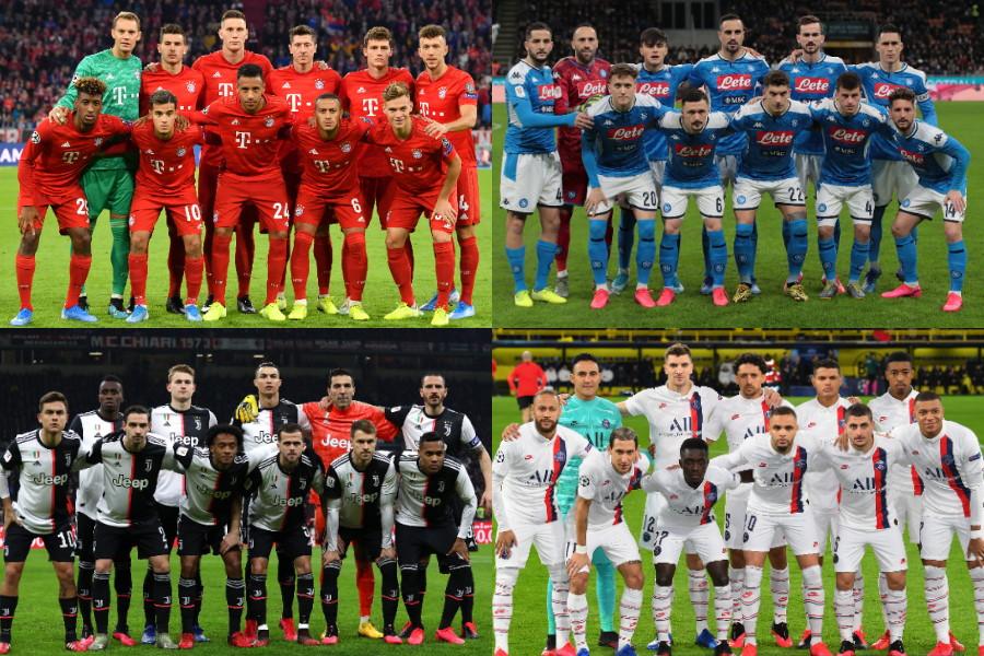 (左上から時計回りに)バイエルン、ナポリ、PSG、ユベントス【写真:Getty Images】