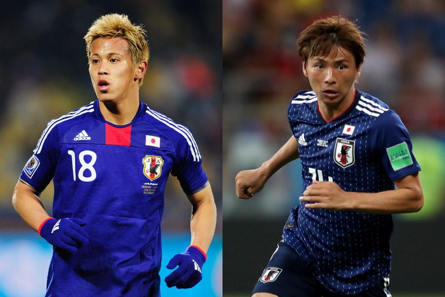 MF本田圭佑(10年W杯当時/左)とMF乾貴士(18年W杯当時)【写真:Getty Images】