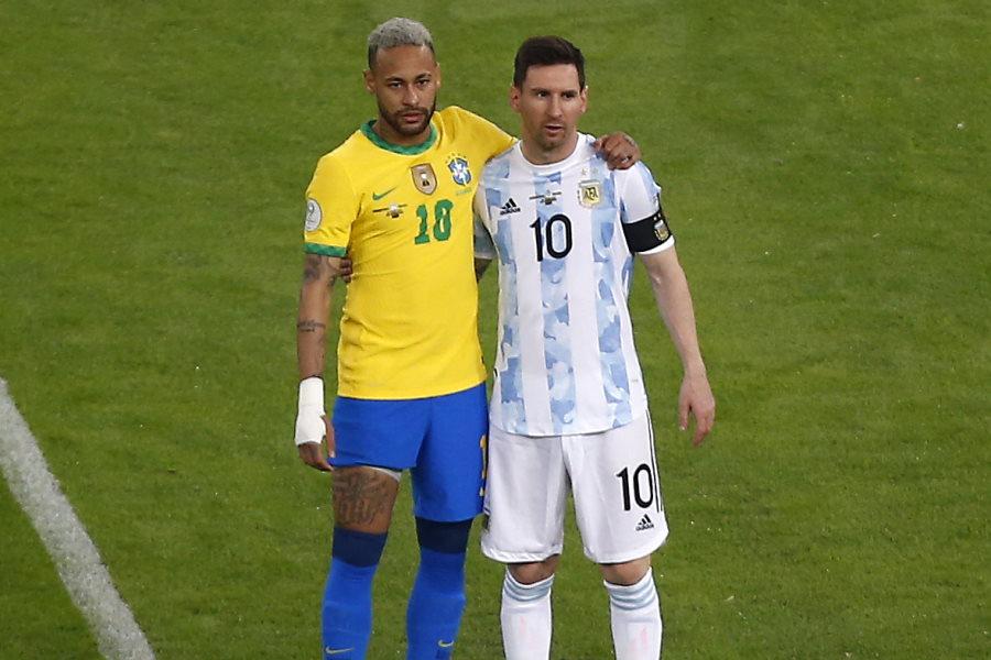 ブラジル代表FWネイマールとアルゼンチン代表FWリオネル・メッシ【写真:Getty Images】
