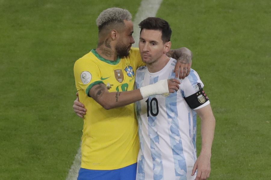 ブラジル代表FWネイマールとアルゼンチン代表FWメッシ【写真:AP】