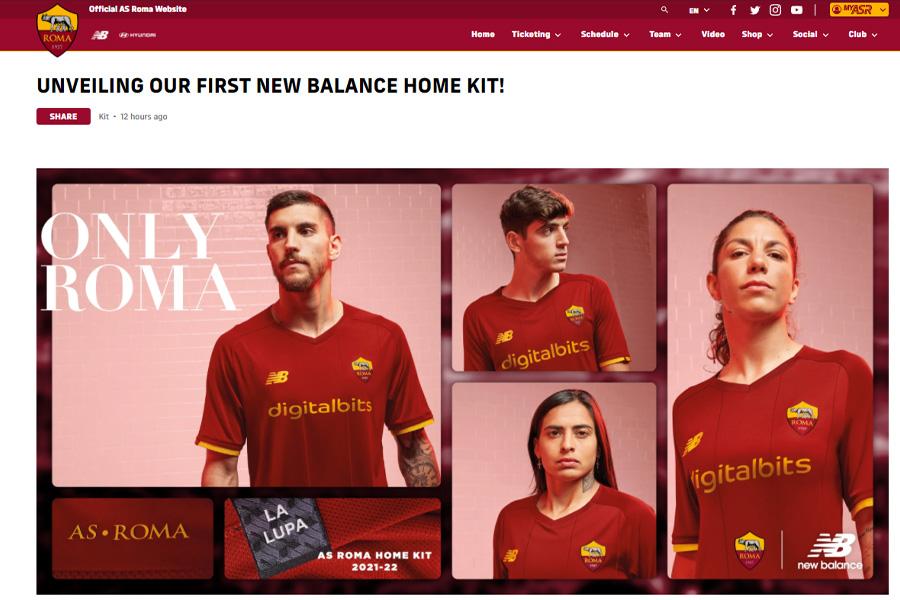ローマの新ユニフォームが公開【画像はASローマ公式サイトのスクリーンショットです】