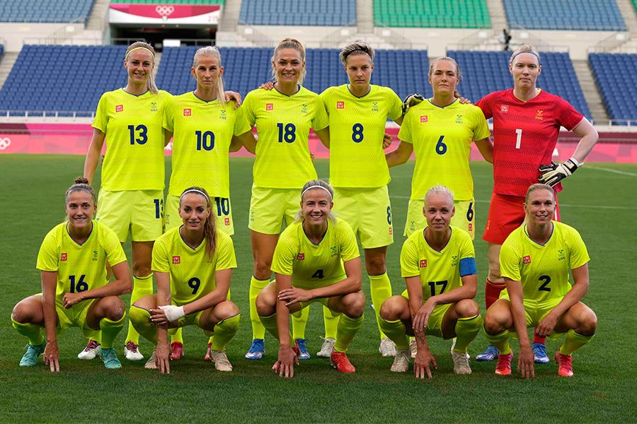 スウェーデン女子代表の選手たち【写真:AP】