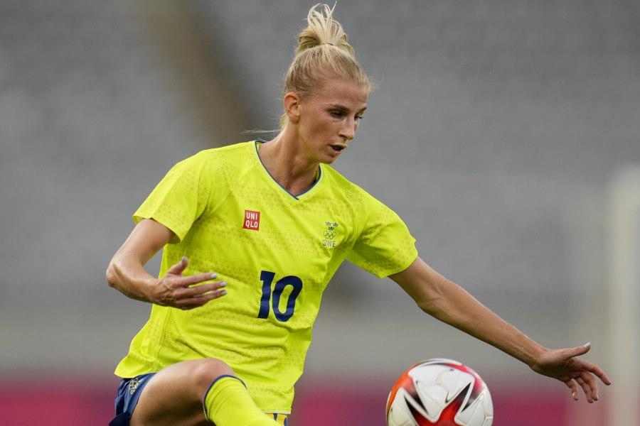 日本と対戦したスウェーデンFWヤコブソン【写真:AP】