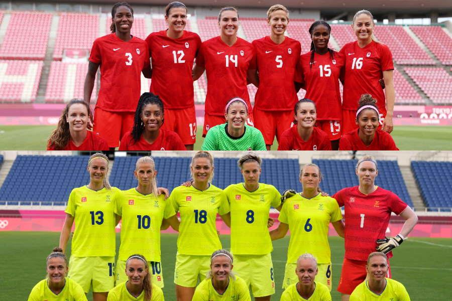 東京五輪の女子サッカーは、6日にスウェーデンとカナダの決勝が予定されている【写真:Getty Images & AP】
