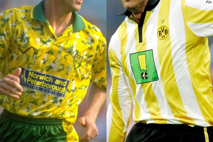 ノリッジ・シティ(1992-94シーズン/左)とドルトムント(2006-07シーズン)のユニフォーム【写真:Getty Images】