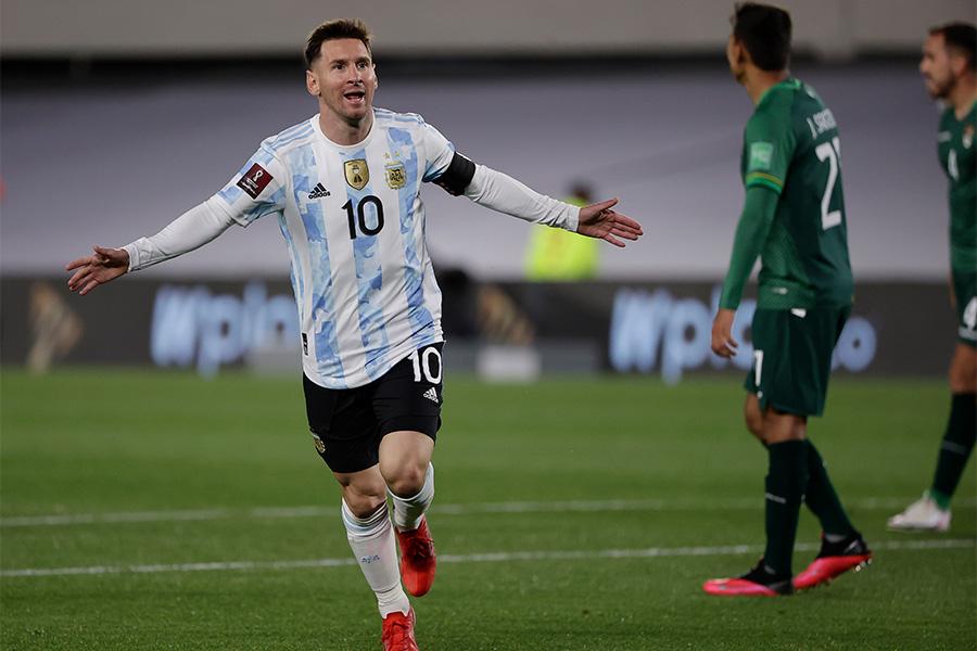 南米出身選手の最多ゴールを更新したFWリオネル・メッシ【写真:AP】
