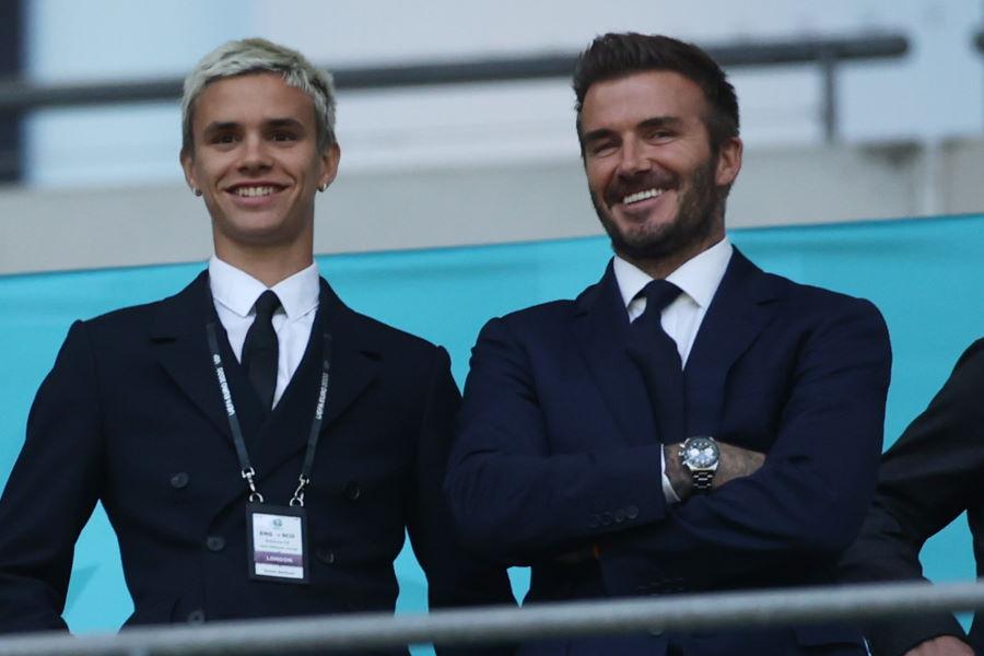 次男のロメオ・ベッカム(左)と父親のデイビッド・ベッカム氏【写真:Getty Images】